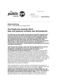 The Public Eye Awards 2014: Gap und Gazprom erhalten den ...
