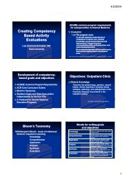 Creating Competency Based Activity Evaluations