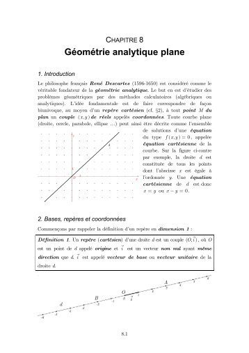 Chapitre 8 : Géométrie analytique