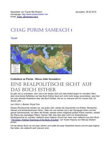CHAG PURIM SAMEACH ! EINE REALPOLITISCHE ... - Israel Shalom