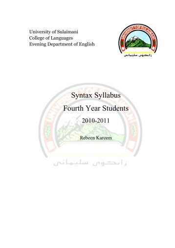 Syntax Syllabus Fourth Year Students - University of Sulaimani