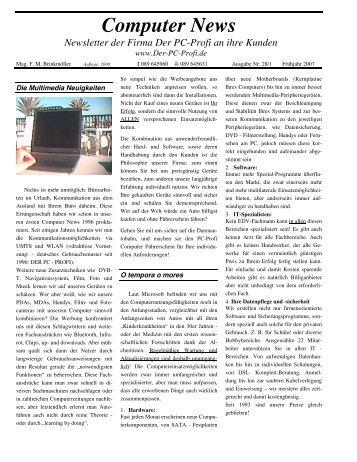 Computer News Newsletter der Firma Der Pc-Profi an ihre Kunden
