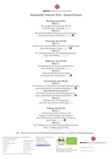 Speiseplan Februar - Broich Catering