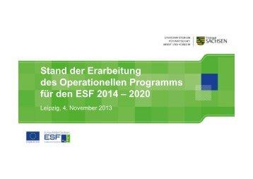 Stand der Erarbeitung des OP für den ESF - Strukturfonds in Sachsen