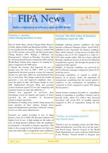News letter N43 - Invest in Tunisia, The Foreign Investment ...