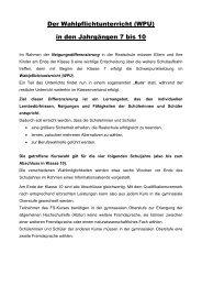 Der Wahlpflichtunterricht (WPU) in den Jahrgängen 7 bis 10
