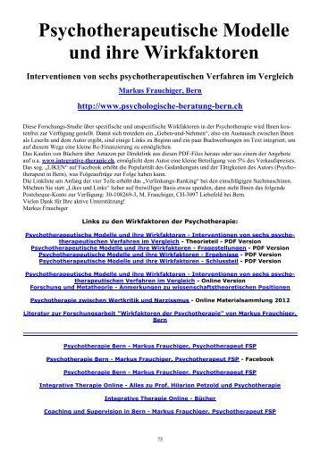 Psychotherapeutische Modelle und ihre Wirkfaktoren - Schlussteil