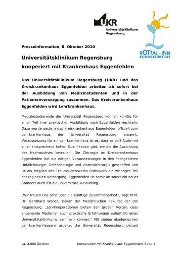 Universitätsklinikum kooperiert mit Krankenhaus Eggenfelden