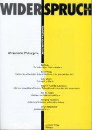 Afrikanische Philosophie - Widerspruch