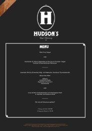 Speisekarte - im Hudson's Essen!