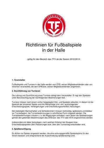 Hallenregeln des TFV - Schiedsrichter - KFA Rhoen-Rennsteig