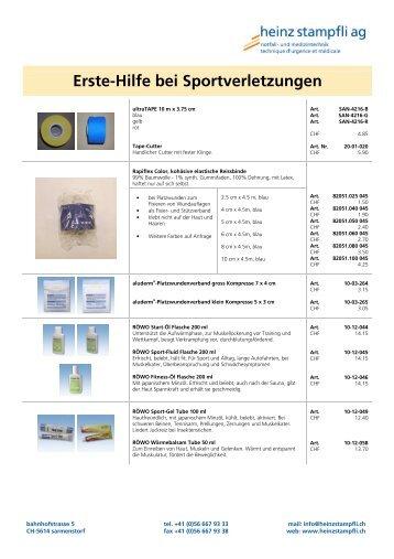 erste hilfe material bei sportverletzungen - Heinz Stampfli AG