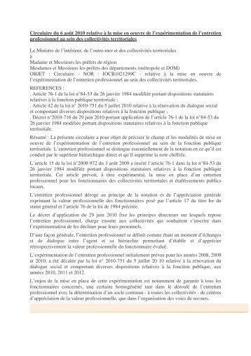 Circulaire du 6 août 2010 relative à la mise en oeuvre de l ... - CDG38