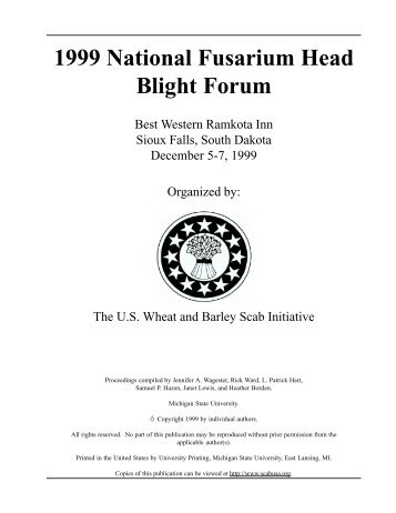 1999 National Fusarium Head Blight Forum - U.S. Wheat and Barley ...