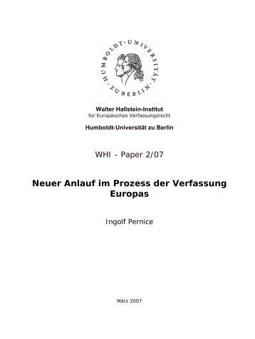 Neuer Anlauf im Prozess der Verfassung Europas: Was ... - WHI-Berlin