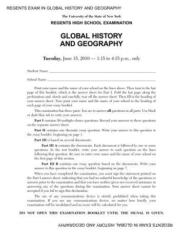 Question on Global History regents exam?