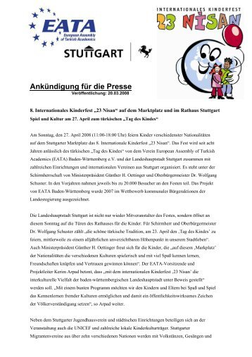 """""""23 Nisan"""" auf dem Marktplatz und im Rathaus Stuttgart ... - EATA"""