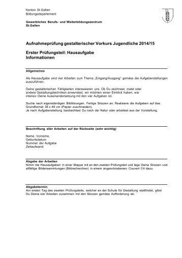 Hausaufgaben 2013 - und Weiterbildungszentrum St. Gallen