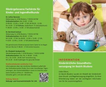 versorgung im Bezirk Bludenz Niedergelassene Fachärzte für Kinder