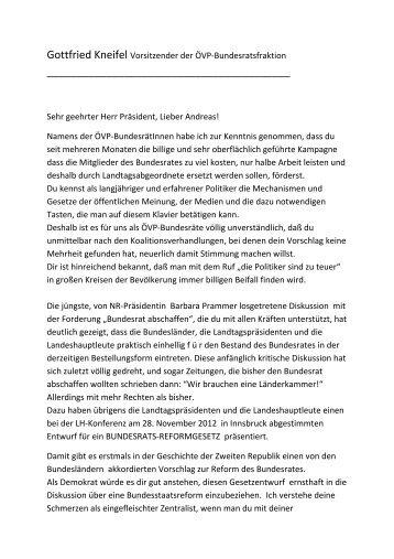 Gottfried Kneifel Vorsitzender der ÖVP-Bundesratsfraktion Sehr ...