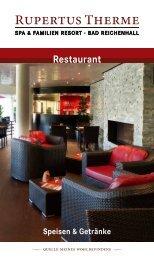 Speisen & Getränkekarte Restaurant - Rupertustherme