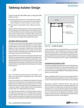 Tabletop Isolator Design - CVI Melles Griot Technical Guide, Vol 2 ...