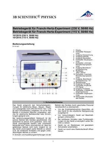 Betriebsgerät für Franck-Hertz-Experiment (230 V, 50 ... - 3B Scientific