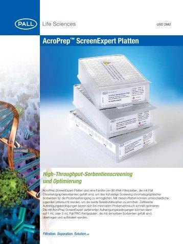 AcroPrep™ ScreenExpert Platten - Pall Corporation
