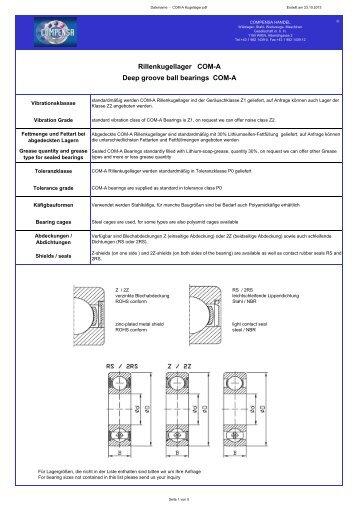 Rillenkugellager COM-A Deep groove ball bearings ... - compensa