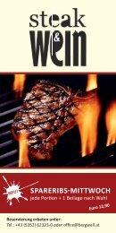 Flyer Steak und Wein - Bergwell Hotel Dorfschmiede