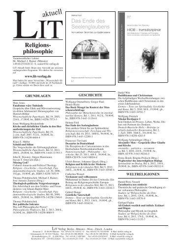 Religionsphilosophie - LIT Verlag