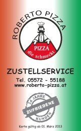 R O PIZZ A ZUSTELLSERVICE - Roberto Pizza