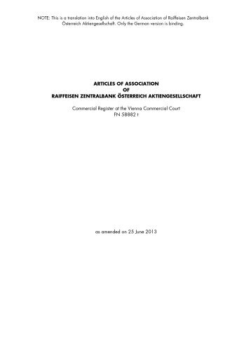 Satzung Englisch Stand 25. Juni 2013 - RZB