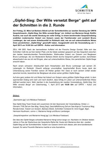 """""""Gipfel-Sieg: Der Wille versetzt Berge"""" geht auf der Schmitten in die ..."""