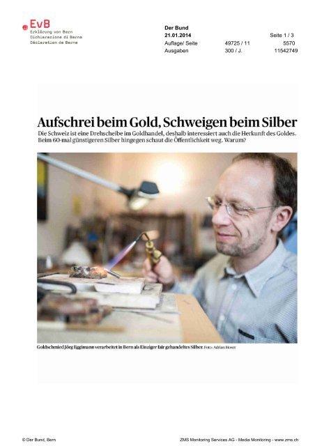 Aufschrei beim Gold, Schweigen beim Silber - Erklärung von Bern
