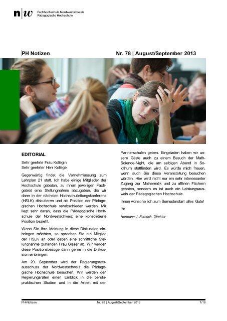 PH Notizen 78 - Fachhochschule Nordwestschweiz