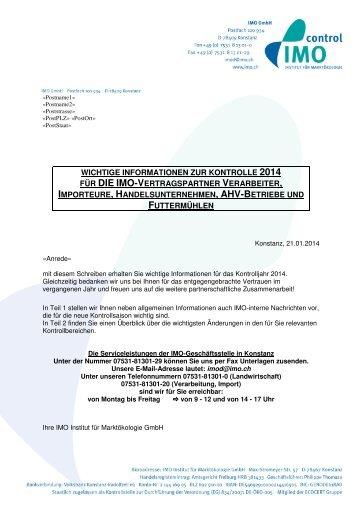 Jahresschreiben 2014 für Verarbeiter, Importeure ... - IMO