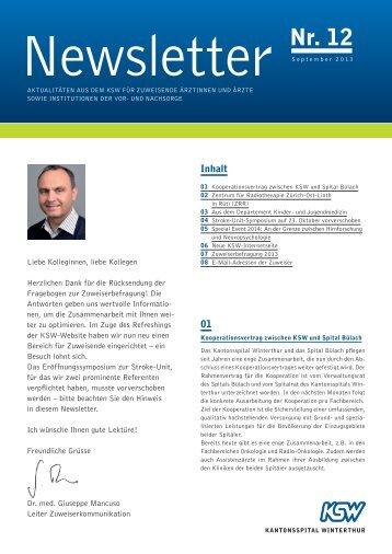 Newsletter 12, September 2013 - im Kantonsspital Winterthur