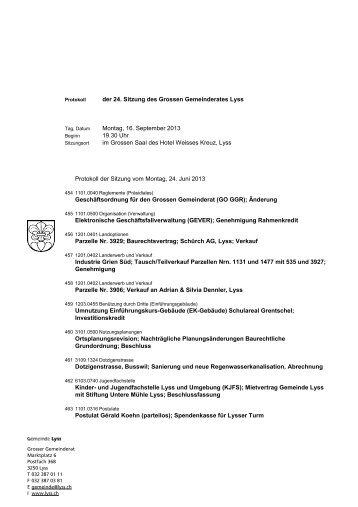 der 24. Sitzung des Grossen Gemeinderates Lyss ... - Gemeinde Lyss
