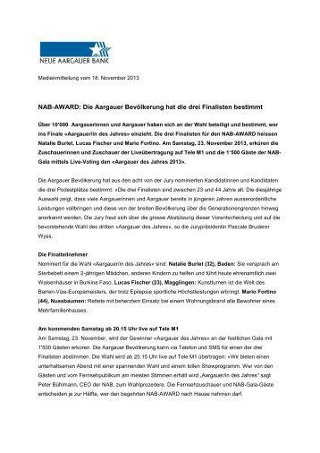 NAB-AWARD: Die Aargauer Bevölkerung hat die drei Finalisten ...