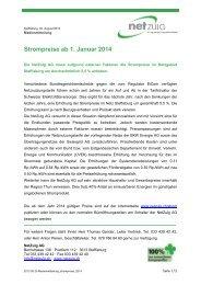 Medienmitteilung Strompreise 2014 - NetZulg AG