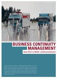 BUSINESS CONTINUITY MANAGEMENT - Planzer Transport AG