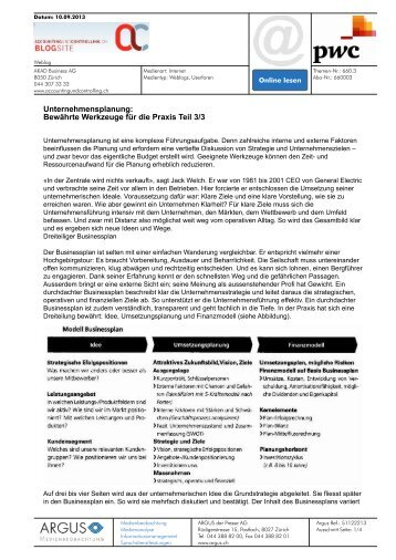 Unternehmensplanung: Bewährte Werkzeuge für die Praxis ... - PwC