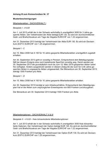 Anhang III zum Kreisschreiben Nr. 37 Musterbescheinigungen ...