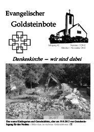 Neues von der Baustelle - Dankeskirchengemeinde Goldstein