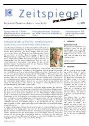 Zeitspiegel Juni 2013 - Regionales Pflegezentrum Baden