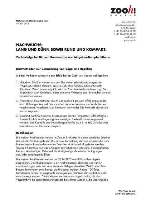 NACHWUCHS: LANG UND DÜNN SOWIE RUND UND ... - Zoo Zürich