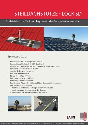Broschüre Steildachstütze Lock SD - access group gmbh