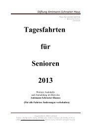 Tagesfahrten für Senioren 2013 - Amtmann-Schroeter-Haus