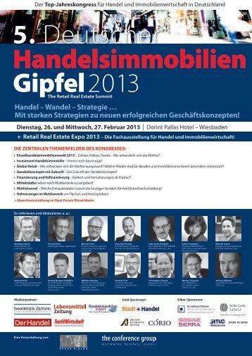 Anmeldung 5. Deutscher Handelsimmobilien Gipfel 2013